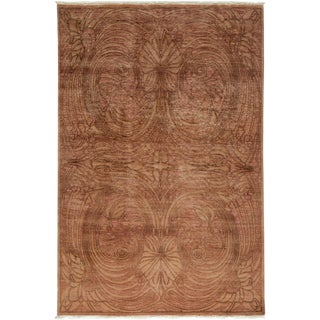 "Shalimar, Hand Knotted Brown Wool Area Rug - 6' 2"" X 9'"