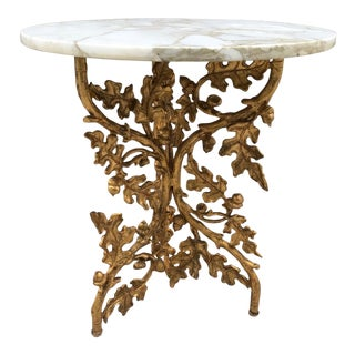 Italian Gilt Metal Marble Top Side Table