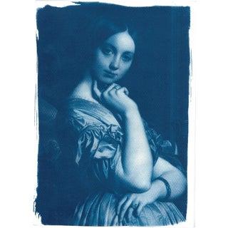 Ingres Portrait of Young Woman - Cyanotype Print