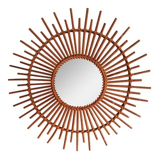 Vintage French Bamboo Sunburst Mirror