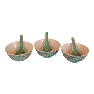 Turquoise Japanese Bowls With Spoons - Set of 6