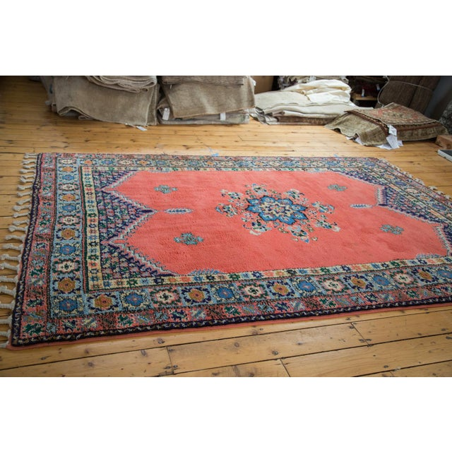 "Vintage Red & Blue Moroccan Rug - 6'8"" X 9'6"" - Image 7 of 9"
