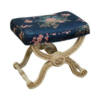 Quality French Louis XV Style Painted X Base Bench Ottoman