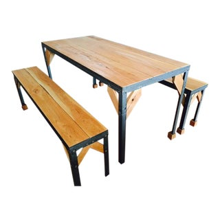 Wood & Steel Farm Table with Benches