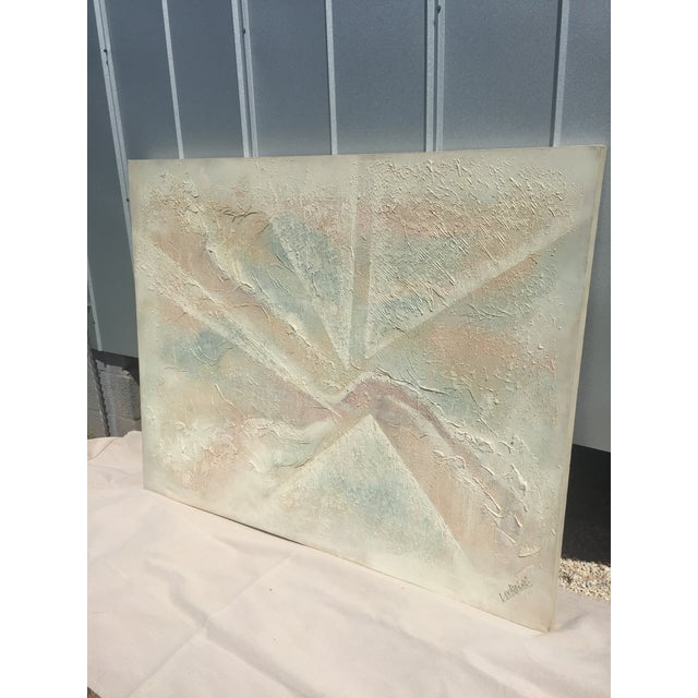 Extra Large- Lee Reynolds Sunrise Mid Century Modern Pastel Abstract Canvas Painting Signed - Image 4 of 11
