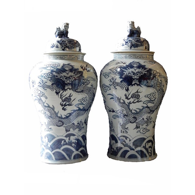 Mansion Size H. Painted Dragon Ginger Jars - a Pair - Image 9 of 9