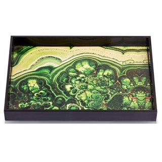 Lacquered Malachite Graphic Tray