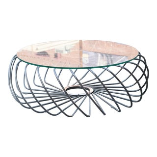 Spiraling Steel and Glass Top Coffee Table