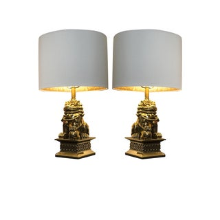 Gold Foo Dog Lamps, White/Gold Lined Shades - Pair