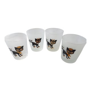 Libbey Mid-Century Gold & Black Cats Cocktail Glasses - Set of 4