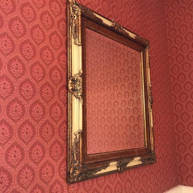 Vintage Carved Crackled Wood & Burnished Gold Mirror - Image 3 of 8