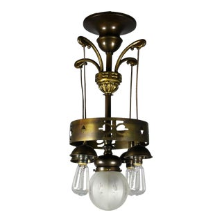 Rare Arts & Crafts Ringed Flush-mount Fixture Attributed to Liberty (5-light)