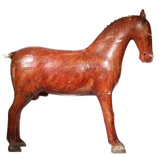 19th Century Distressed Painted Wooden Horse