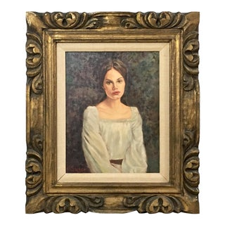 Vintage Original Female Portrait Oil Painting