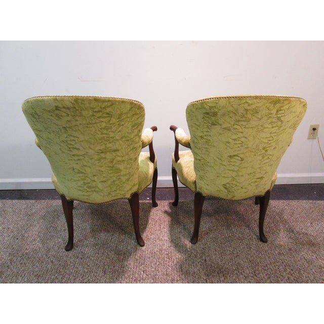 Image of Matching Upholstered French Arm Chairs - Pair