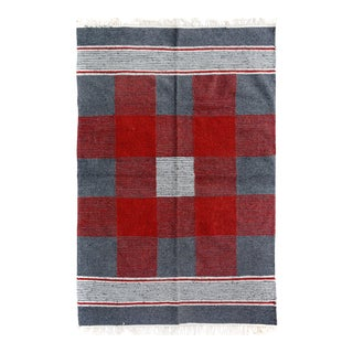 Kilim Arya Jefferson Gray & Red Wool Rug - 4'0 X 5'11