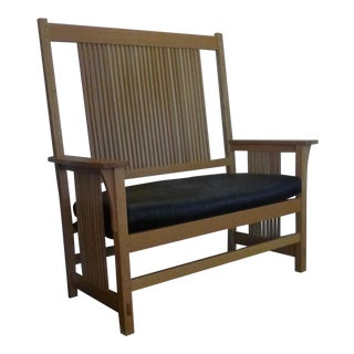 Stickley Mission Oak Spindle Settee Bench