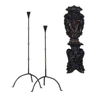 Two Vintage French Forged Iron Candle Stands circa 1940