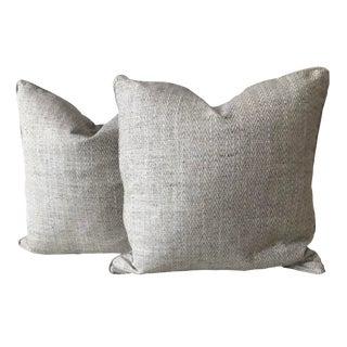Light Grey Tweed Pillows - A Pair