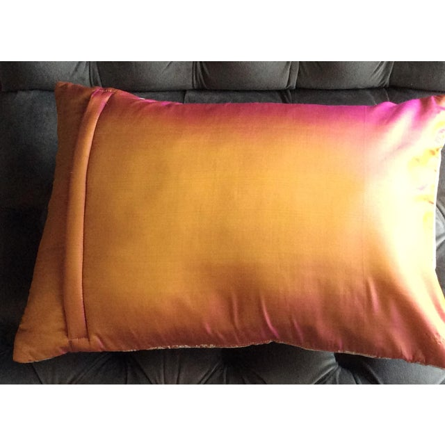Embroidered Handwoven Copper Silk Pillow - Image 5 of 5