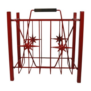 Vintage Red Magazine Rack