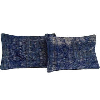Blue Lumbar Over-Dyed Pillows - Pair