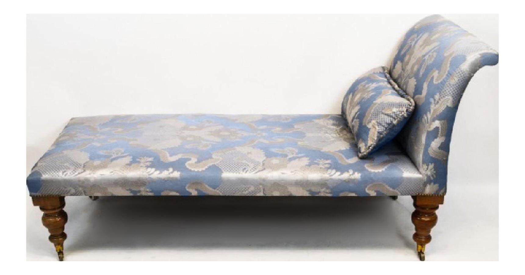 19thc antique scalamandre silk chaise