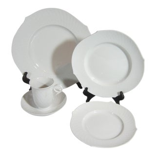 Meissen Waves White Porcelain Place Setting- 5 Pieces