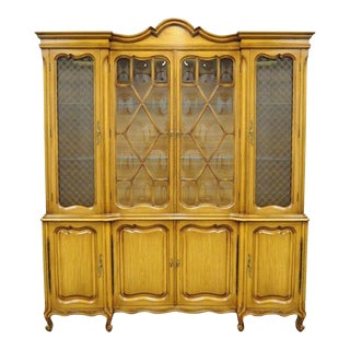 Country French Provincial Breakfront Cabinet