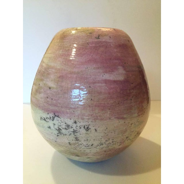 Pink Raku Ceramic Pot - Image 3 of 5