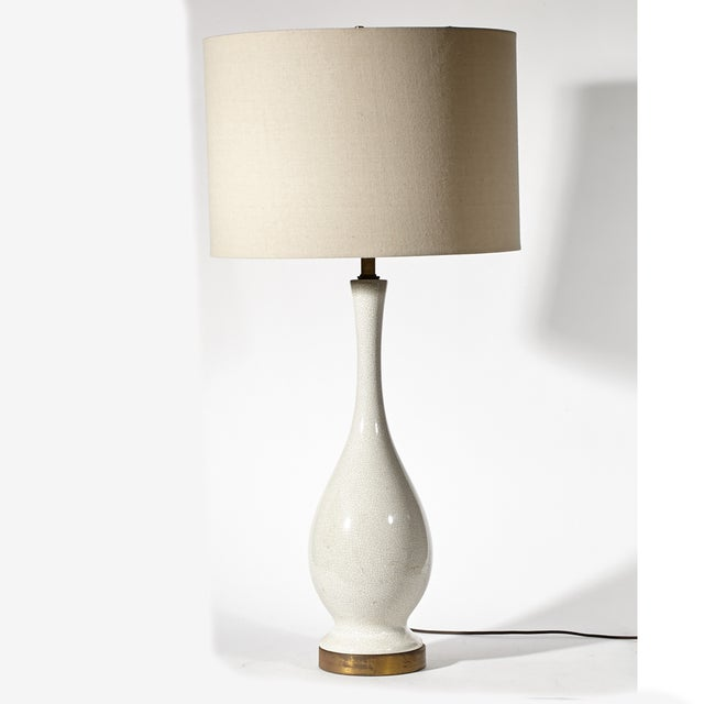 Image of Vintage 1950s White Crackle Table Lamp