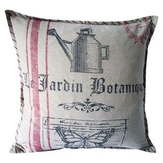 French Farmhouse Distressed Botanique Pillow