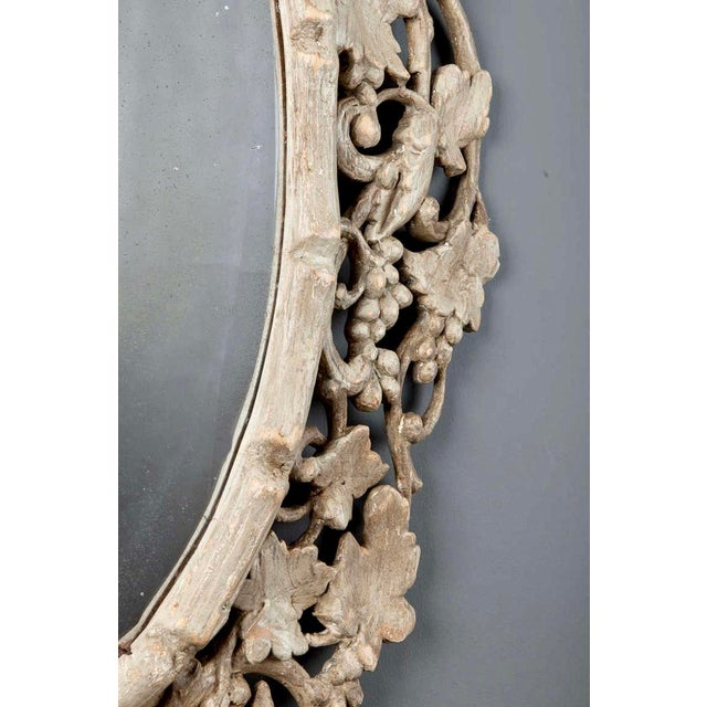 Large 1930's French Beveled Oval Mirror With Carved Grape Vines - Image 4 of 7