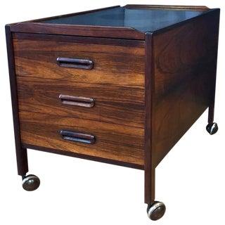 Danish Modern Sliding-Top Rosewood Bar Cart