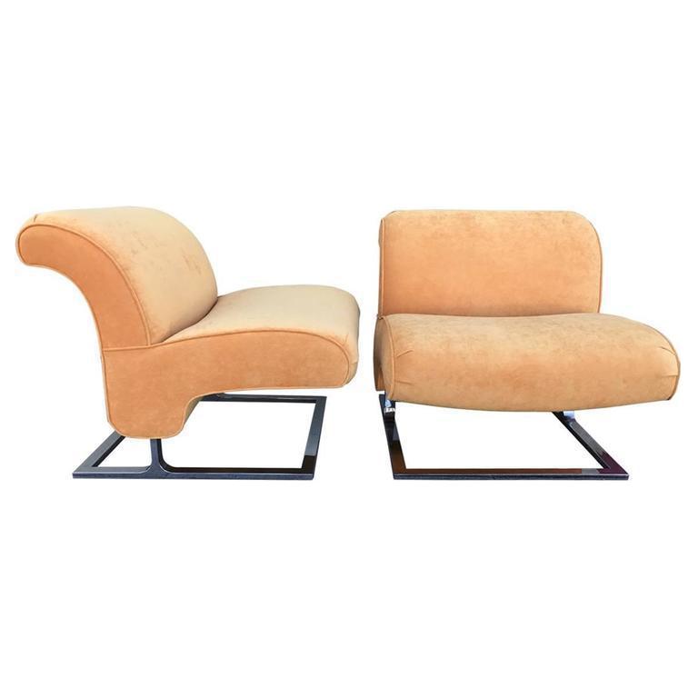 Orange Chrome Slipper Chairs   A Pair