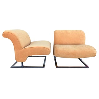 Orange Chrome Slipper Chairs - A Pair