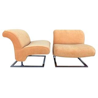 Orange Chrome Slipper Chairs - A Pair
