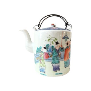 Famille Rose Large Teapot w/ Iron Handles