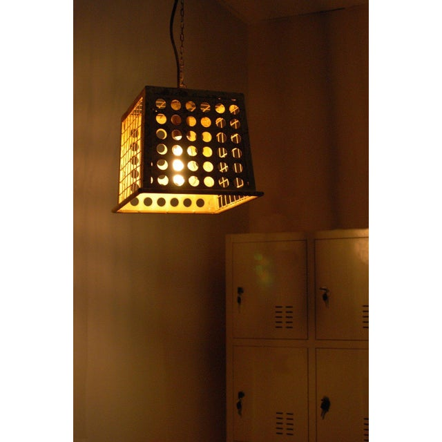 Vintage Barn Metal Pendant Hanging Light - Yellow - Image 3 of 6