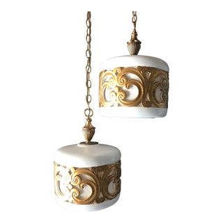 Mid-Century Regency Swag Lamps - A Pair