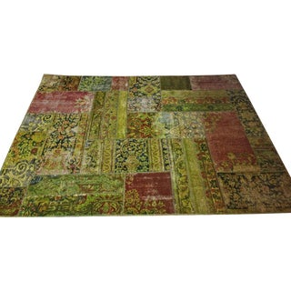 Overdyed Antique Wool Patchwork Rug - 5′ × 7′