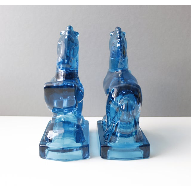 Mid-Century Blue Glass Horse Bookends- A Pair - Image 3 of 5