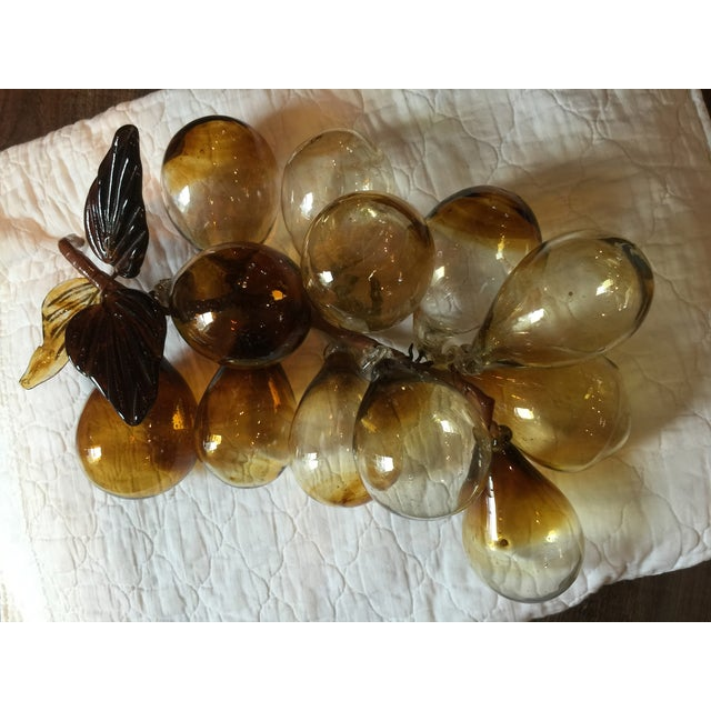 Image of Vintage Handblown Amber Glass Grapes Cluster