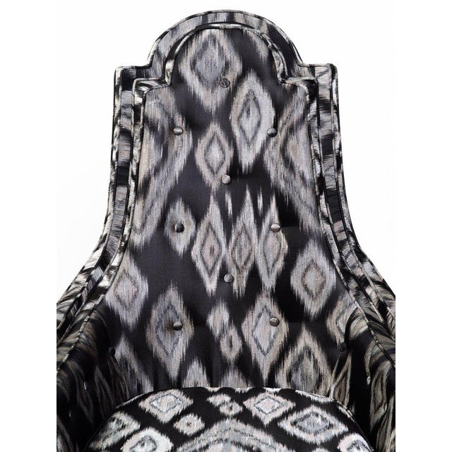 Pair of Hollywood Regency Lounge Chairs in Graphic Ikat Silk - Image 8 of 9