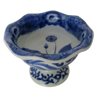 Chinese Hand Painted Blue Porcelain Compote