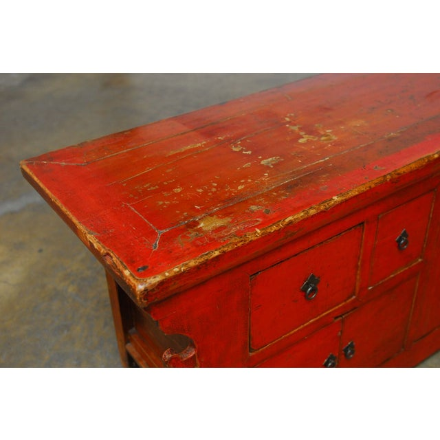 Chinese Red Lacquer Sideboard Console Table - Image 9 of 10 - Chinese Red Lacquer Sideboard Console Table Chairish