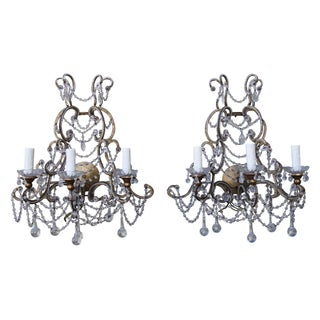 Italian Crystal Beaded Sconces - A Pair