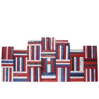 Modern Red, White & Blue Book Wall - Set of 150