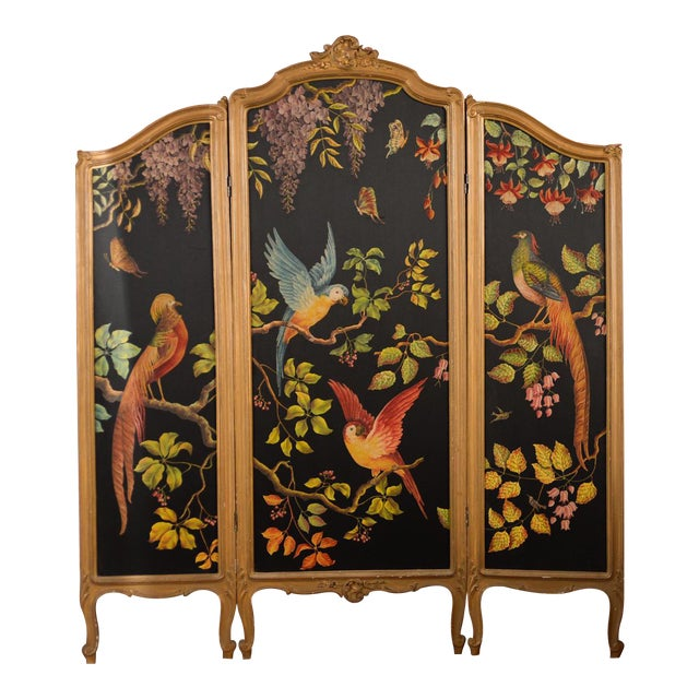 Image of French Three-Panel Parrot Motif Screen