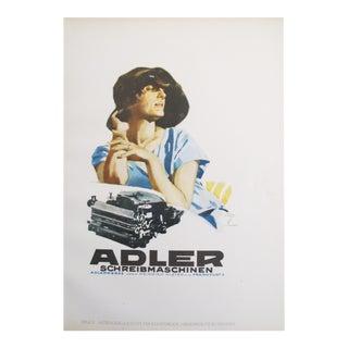 1926 German Poster, Adler Typewriters, Stylish Woman